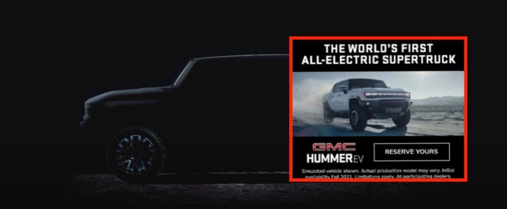 Design of the GMC Hummer EV pickup electric leaked in an ad before it was revealed
