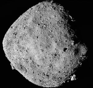 Mosaic image of asteroid Bennu taken by the Osiris Rex spacecraft from a range of 15 miles (24 km).