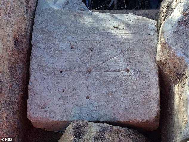 Researchers at HSR, the company involved in the project, spotted inscriptions on various stones of what used to be Saint Mary's, which have a central hole engraved with lines forming a circle