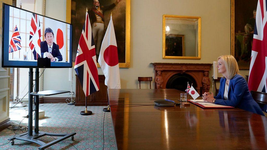 International Trade Secretary Liz Truss talks with Japan Foreign Minister Toshimitsu Motegi in June Pic: Andrew Parsons / 10 Downing Street