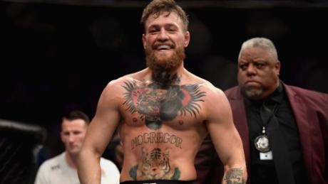 MacGregor smiles after his UFC fight.
