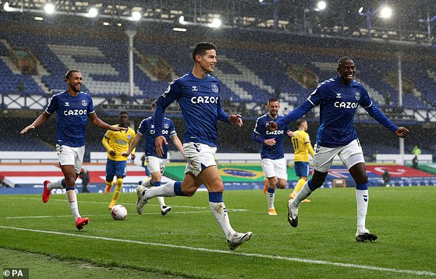 Everton 4-2 Brighton: James Rodriguez scores twice and Dominic Calvert Lewin sees Mina on target