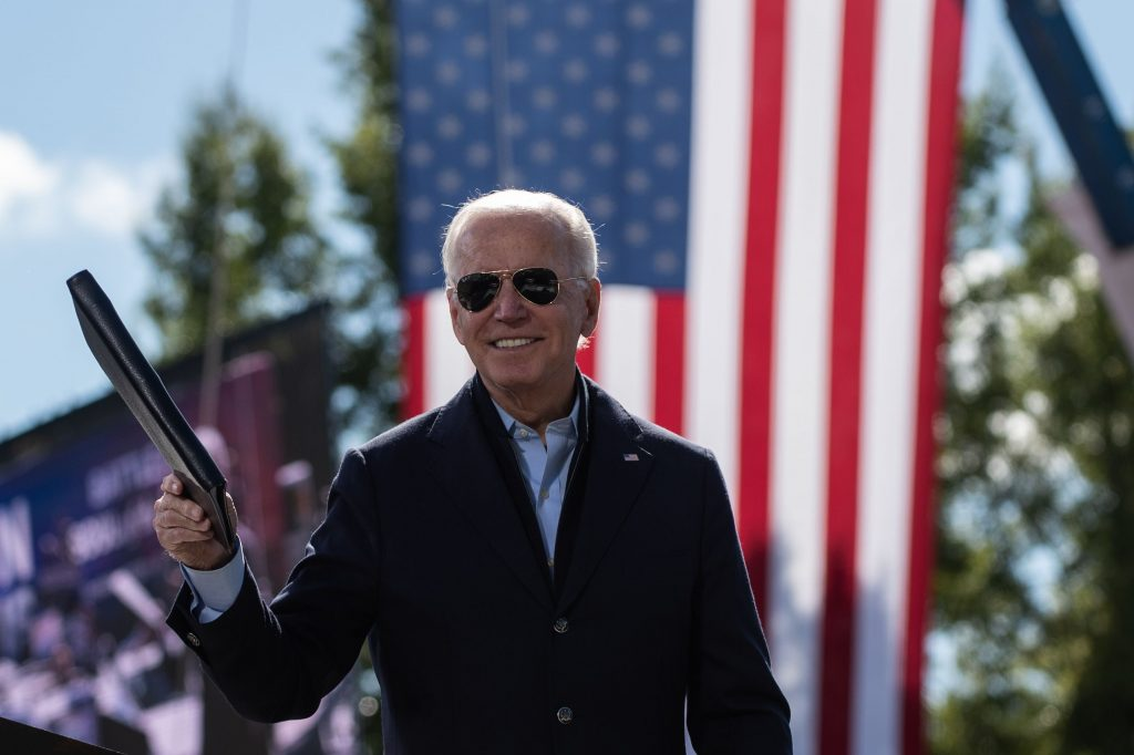 Democratic presidential nominee Joe Biden addresses supporters at a campaign stop in North Carolina on 18 October.
