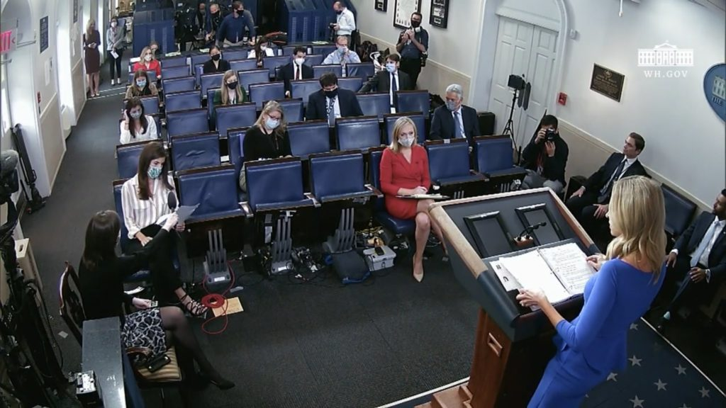 Kylie McNani held a briefing Thursday without a mask.  Are White House Correspondents worried?