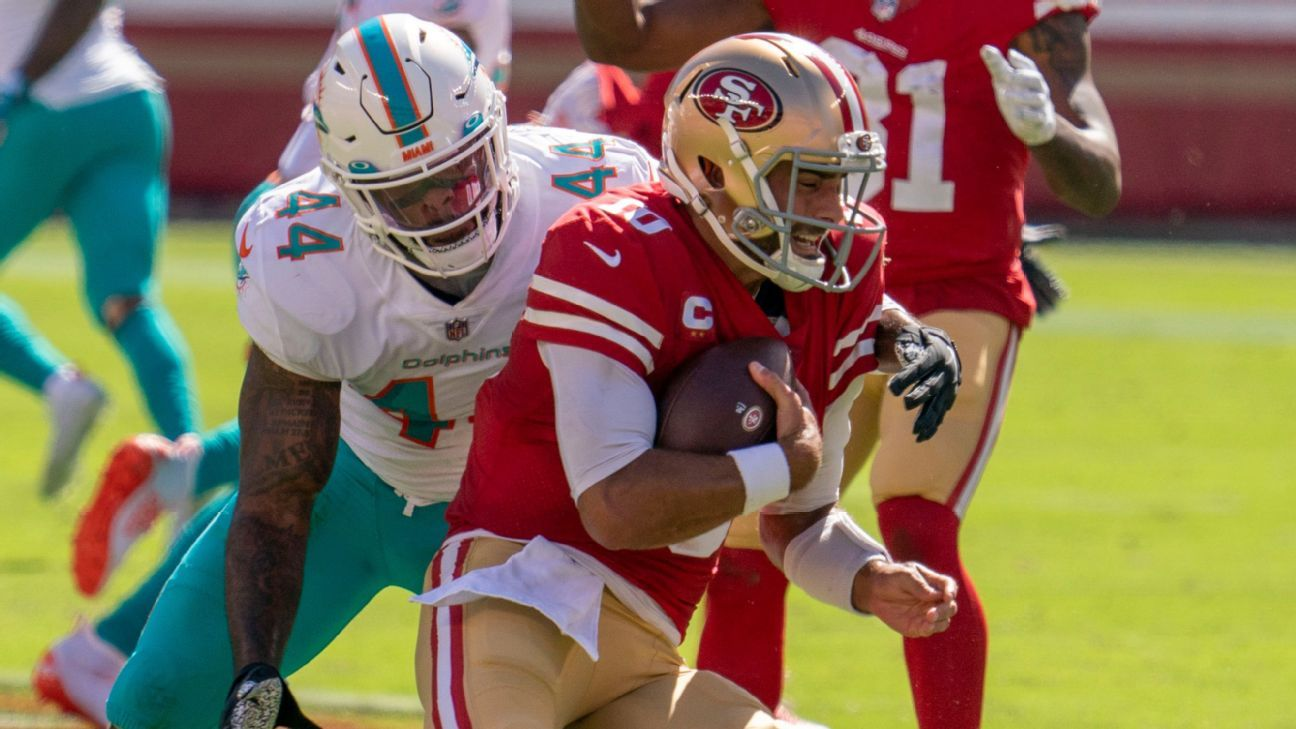 San Francisco 49 Players Off The Bench Jimmy Garoppolo fights for CJ Beathard vs. the Dolphins