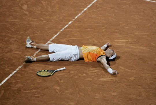 Rafael Nadal of Spain celebrates his victory in his match against Argentine Guillermo Correa during the ATP Telecom Italia tennis tournament final at Foro Italico on May 8, 2005 in Rome, Italy.