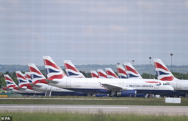 British Airways aircraft were grounded due to the coronavirus outbreak parked at Gatwick Airport in Sussex in May during the first lockdown.