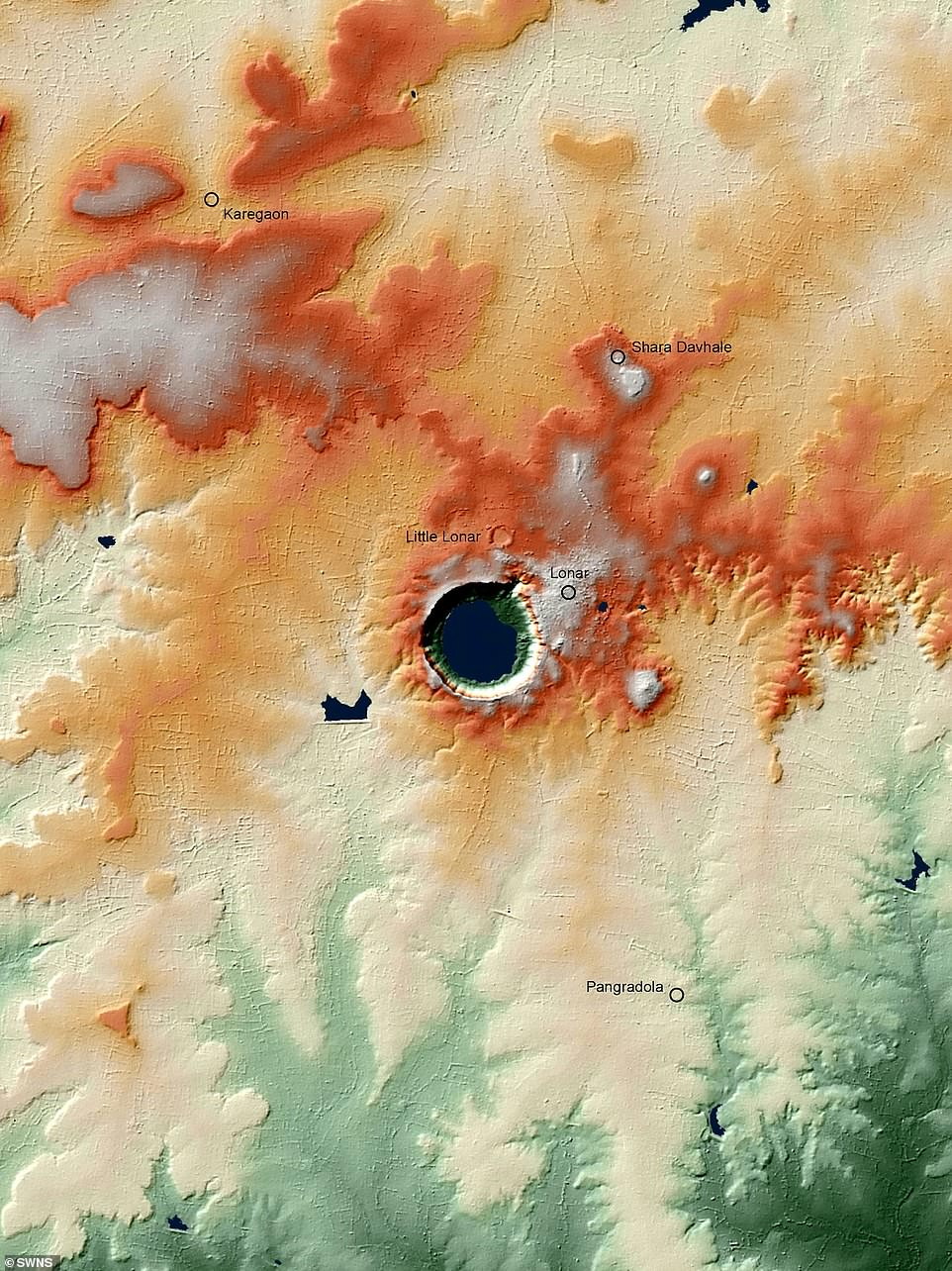 Eye-catching images show the world's first atlas of craters that can be found around the world such as Lonar in India (pictured)