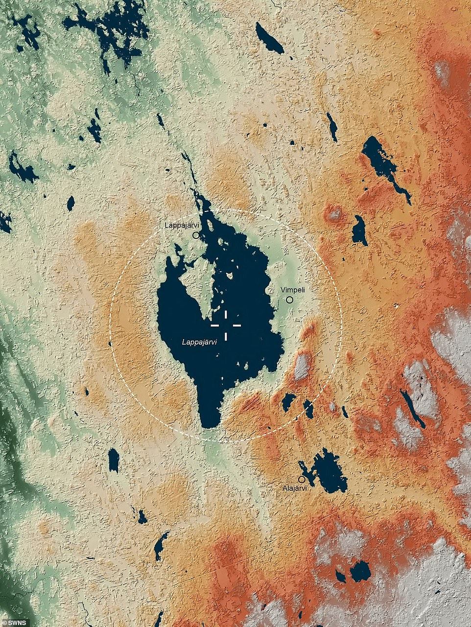 Famous craters such as the Vredefort Crater and the Chicxulub Crater in the Yucatan Peninsula, Mexico, also featured in the Atlas, which put an end to dinosaurs. Pictured: Lappajarvi Crater in Finland