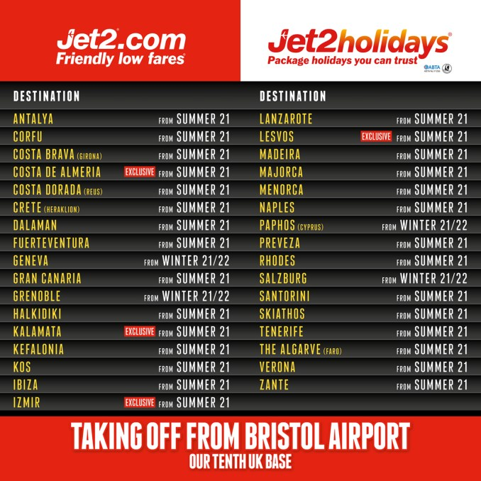 Jet2.com and Jet2holidays announce takeoffs from Bristol Airport for summer 2021 - destination board