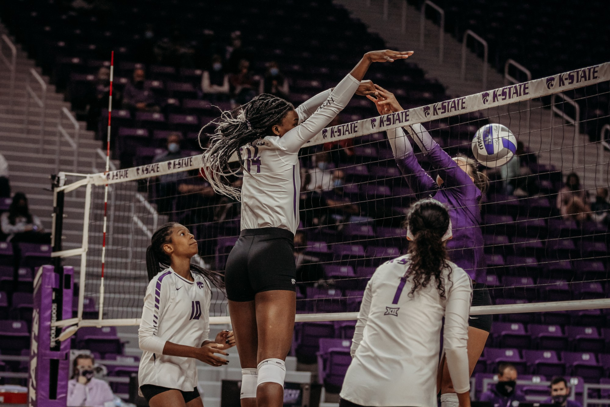 Volleyball trips for victory in the first game against TCU