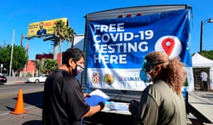 Covid-19 test site pop-up in Los Angeles, California on October 29, 2020.