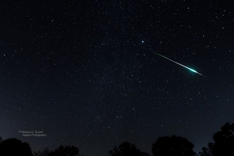 A thin white streak flashes with a bright bulge across the starry sky.