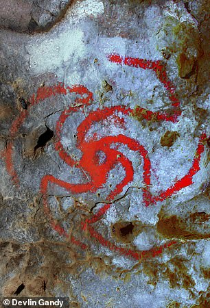Researchers from the United Kingdom and the United States found that a spiral art form (pictured) drawn on a cave wall south of Bakersfield resembles an intoxicating flower known as