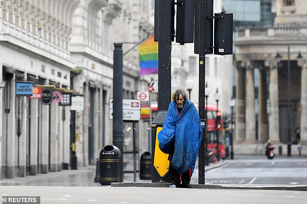 Homelessness charities said many families were `` severely affected '' by the coronavirus crisis - even before COVID-19 reached its peak.  Pictured: a homeless person in London in April