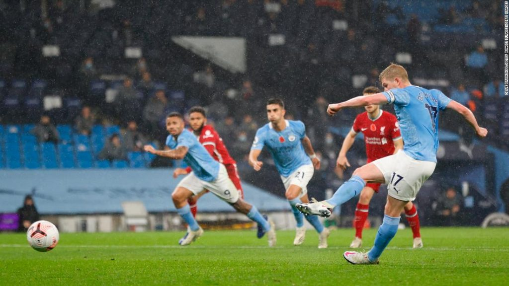 Kevin De Bruyne misses a penalty kick in the Manchester City and Liverpool draw in the Premier League
