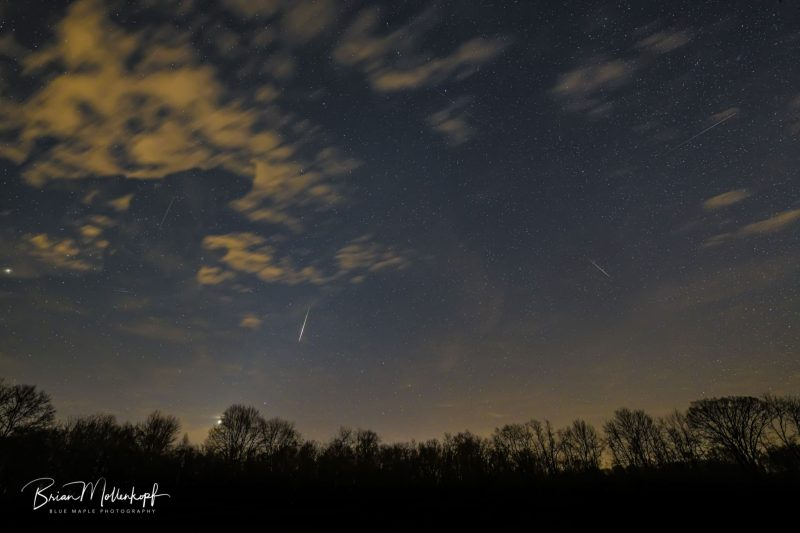 Several thin white streaks in a dim sky with scattered clouds, treetops in sight.
