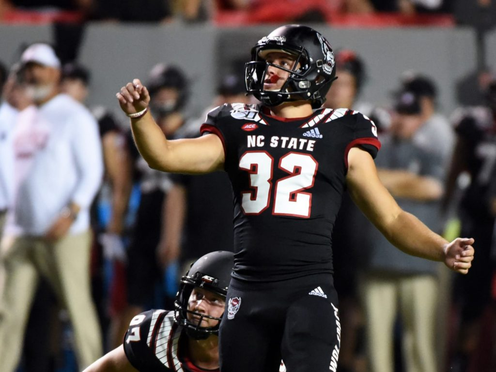 North Carolina state kicker sets a new standard for field goal celebration (video)