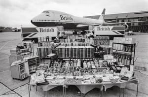 Equipment in front of 747 aircraft
