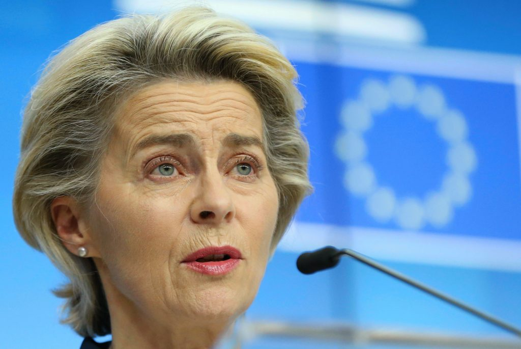 The European Union's von der Leyen is urging a gradual lifting of lockdowns related to the Coronavirus