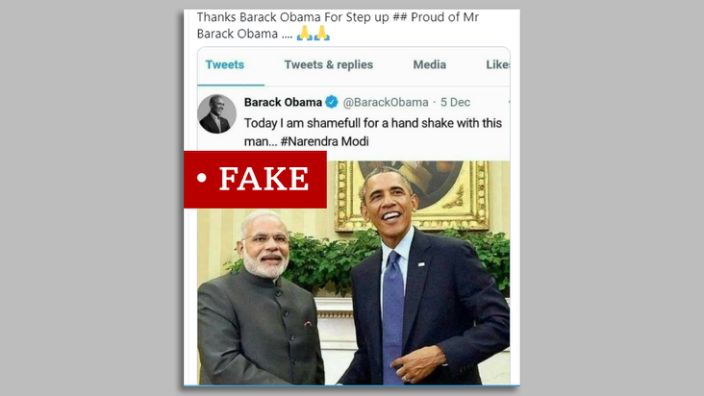 A screenshot of a photo of Obama and Moody marked with & quot;  Fake & quot;