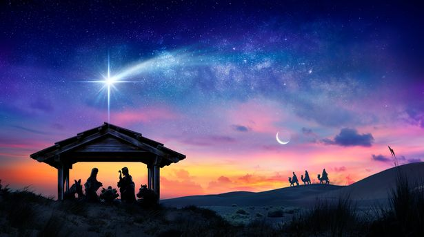 Depiction of the Holy Family with a bright star at sunrise at the birth of Jesus Christ