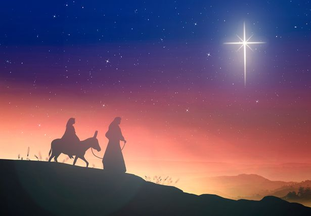Artist impression of Mary and Joseph pregnant with a donkey on a cross star