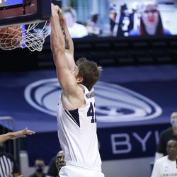 BYU Center Richard Harward (42) dunks the ball during Cougars 87-71 victory over Texas South at the Marriott Center in Provo on Monday, December 21, 2020.