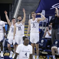 The BYU seat celebrates the defense during Cougars 87-71 victory over Texas Southern at the Marriott Center in Provo on Monday, December 21, 2020.