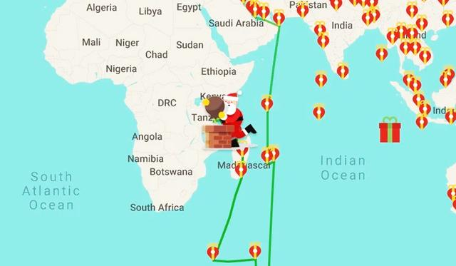 Want to follow Santa Claus on December 24th with your kids?  Use this option from Google Maps.  (Image: Santa Tracker)