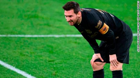 Messi seen during the Barcelona defeat.