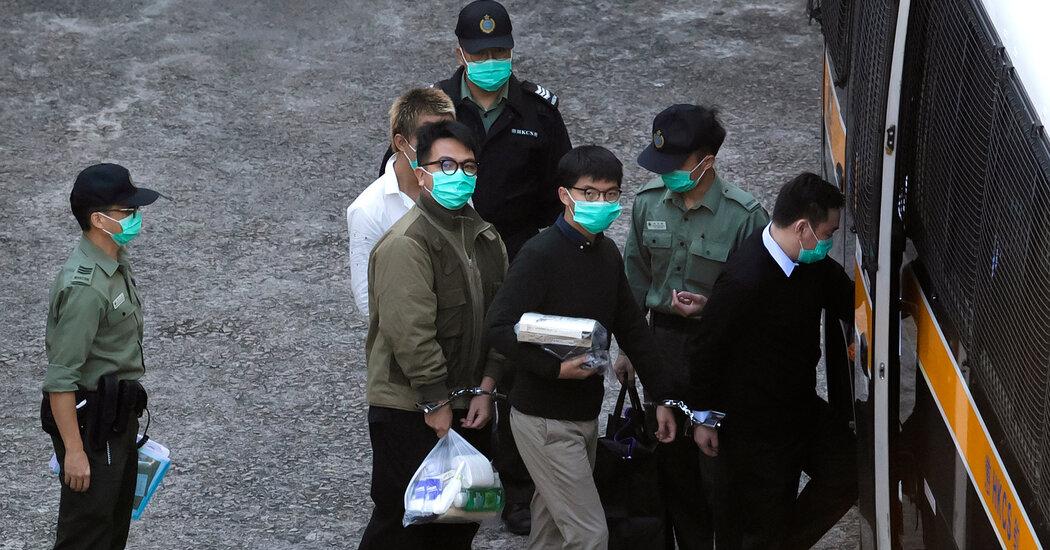 Joshua Wong, Agnes Chow and Evan Lamm being sentenced in Hong Kong