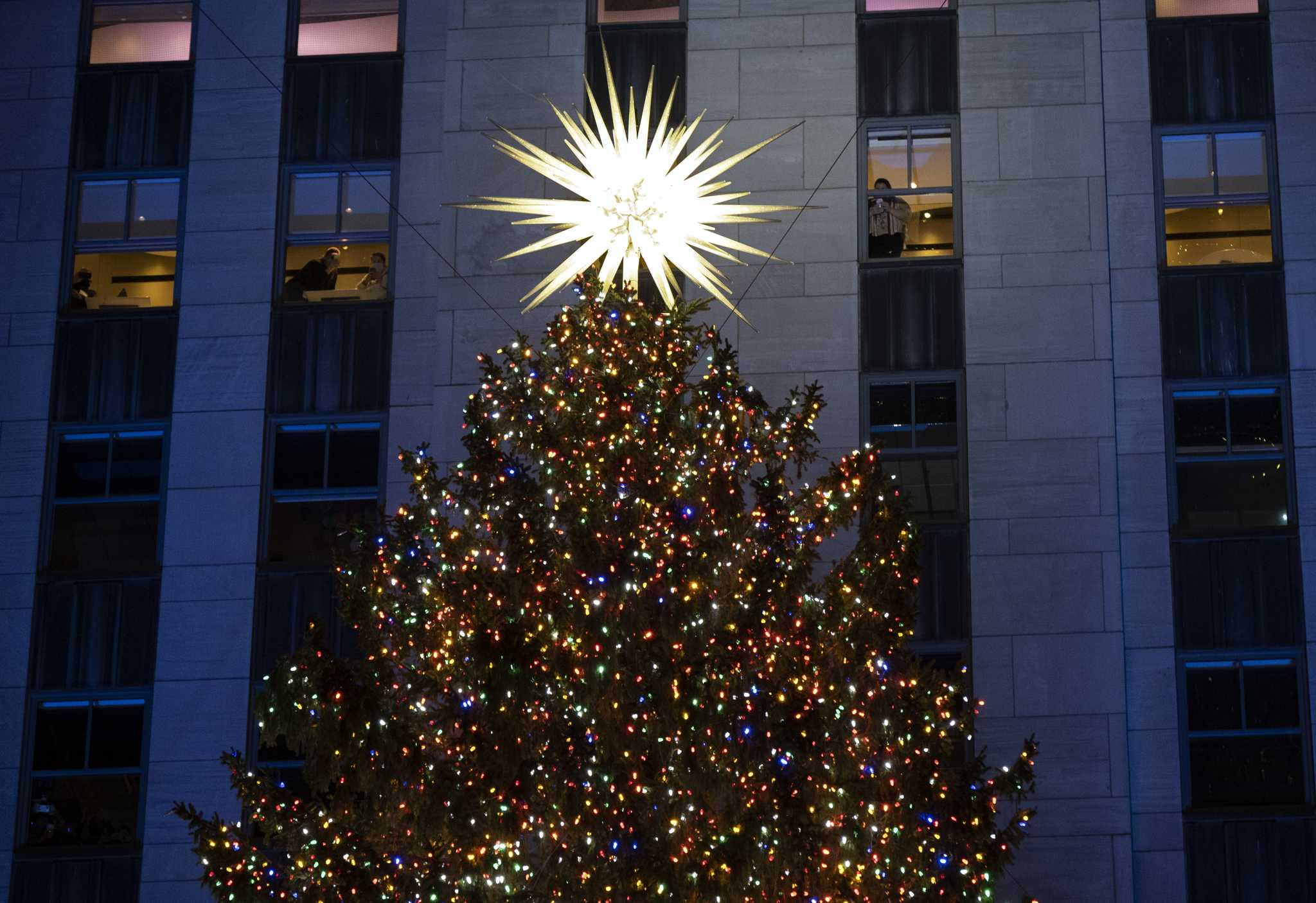 Rockefeller Center Christmas Tree is up and running, with virus rules