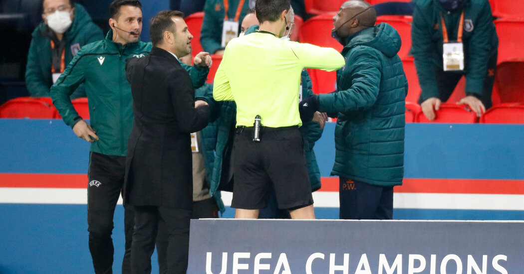 The Champions League match was halted after the official was accused of racist abuse