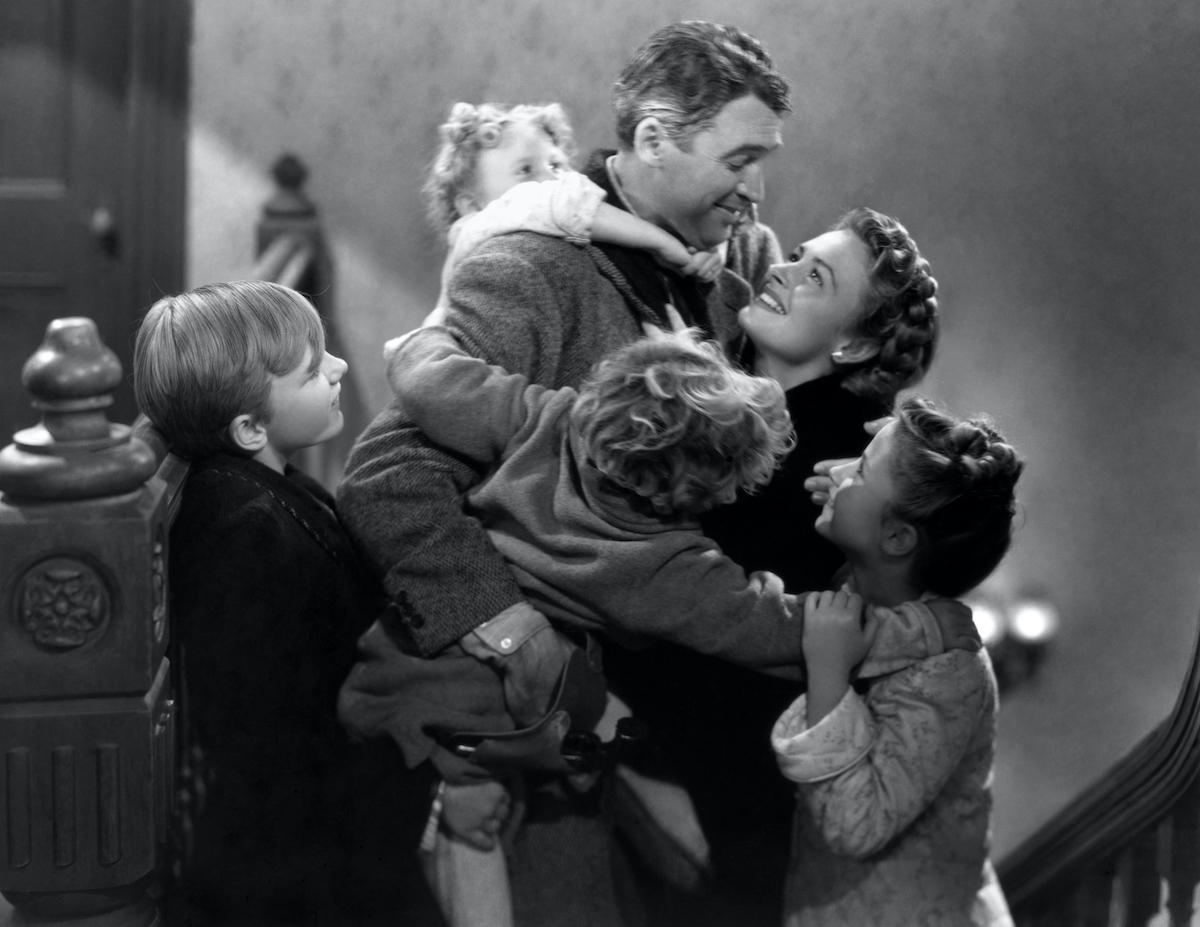 James Stewart, Donna Reed, Carol Coombs, Jimmy Hawkins, Larry Sims, and Caroline Grimes in the movie