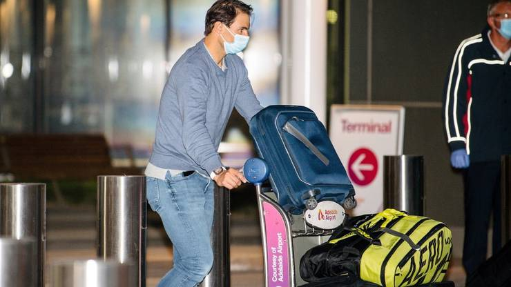 Rafael Nadal traveled to Adelaide from Barcelona.