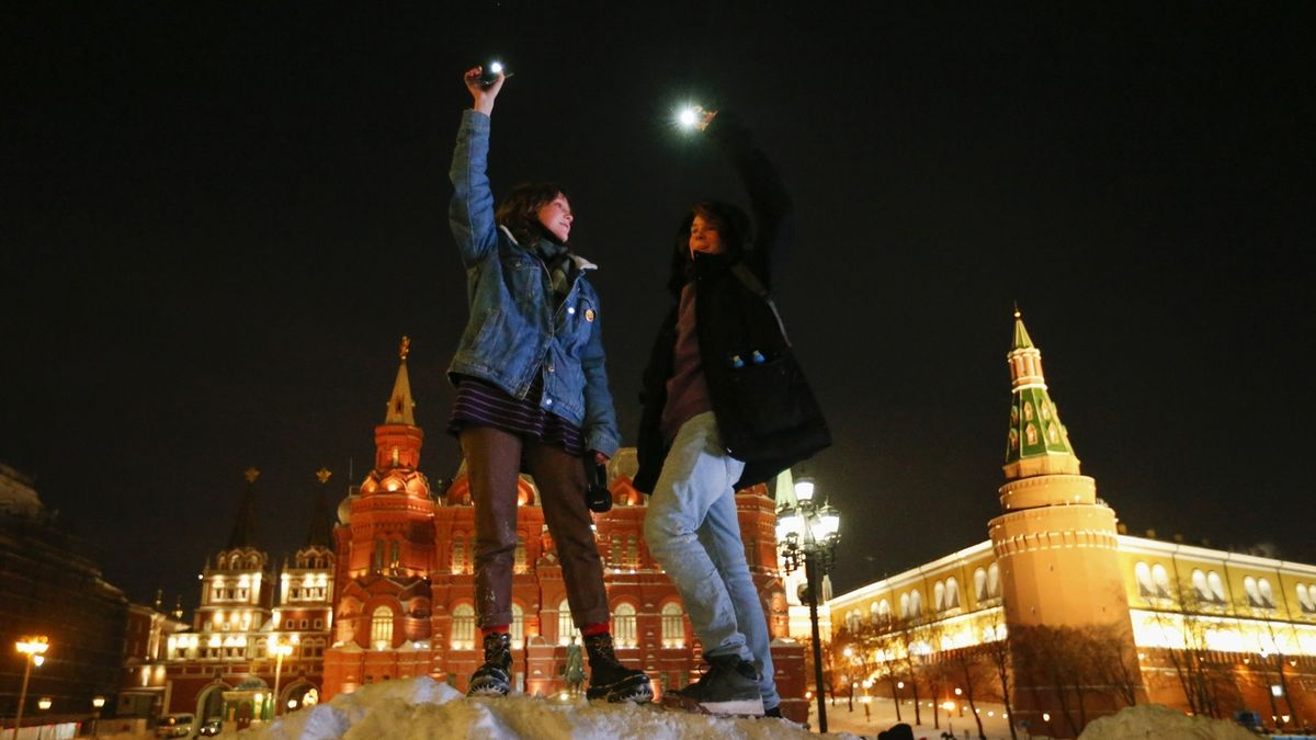 In Russia, the lights lit up in protest