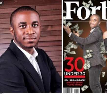 Obinwan OK: Shiny on the cover of Forbes … then the imprisoned young businessman!  A Nigerian businessman who appeared on the cover of Forbes magazine has been jailed for 10 years