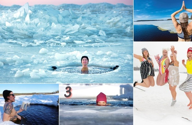 ▷ Close your eyes and plunge into a snowboard swim in Finland with pictures