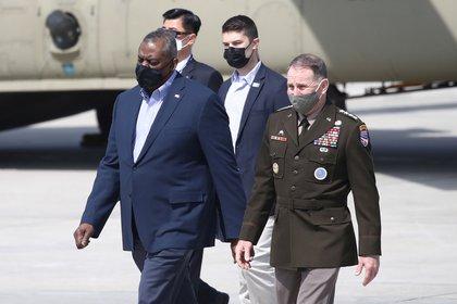 US Defense Secretary Lloyd Austin arrives at Osan Air Force Base in Pyeongtaek, South Korea, on March 17, 2021. Chung Sung-joon / Paul via Reuters