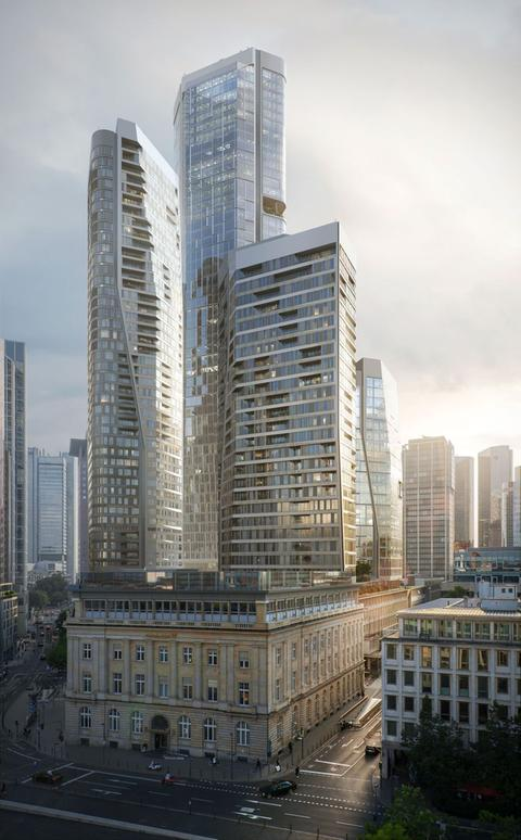 Simulation of planned new tall buildings in Frankfurt.