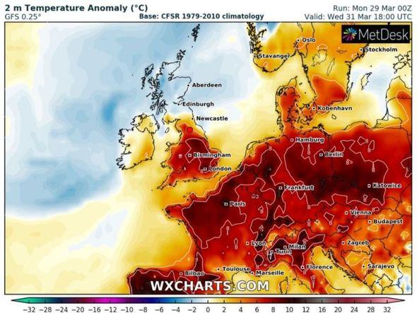 UK weather forecast heat wave temperatures