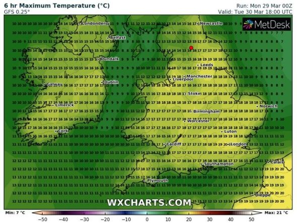 The latest weather forecast for UK temperatures