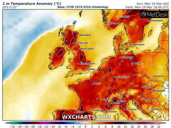 UK weather forecast: Britain braces for a 72F blast as hot weather turns the weather map red