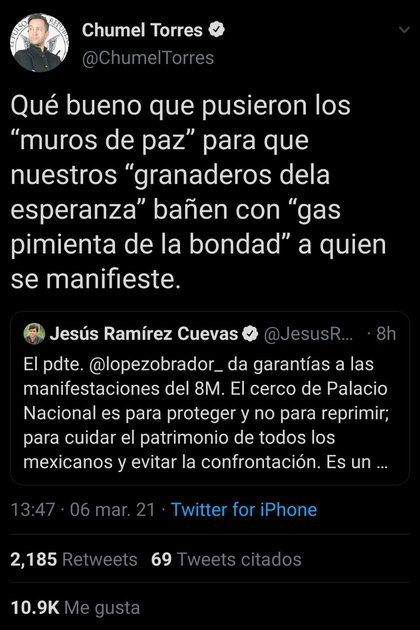 Chumel Torres attacked Jess Ramírez Cuevas, General Coordinator for Social Communications in the Presidency of the Republic (Photo: Twitter / ChumelTorres)
