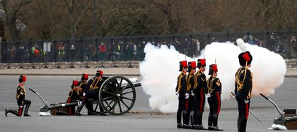 Members of the King's Royal Horse Artillery fired a firearm in tribute to the memory of the death of Prince Philip of Great Britain, Queen Elizabeth's husband, at Parade Square, Woolwich Barracks in central London, Great Britain, April 10, 2021. Alistair Grant / Rally via Reuters