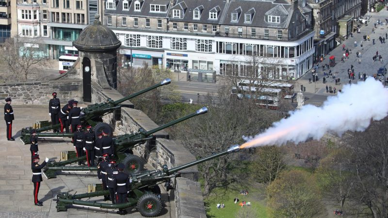 The United Kingdom paid tribute to Prince Philip with a cannon salute