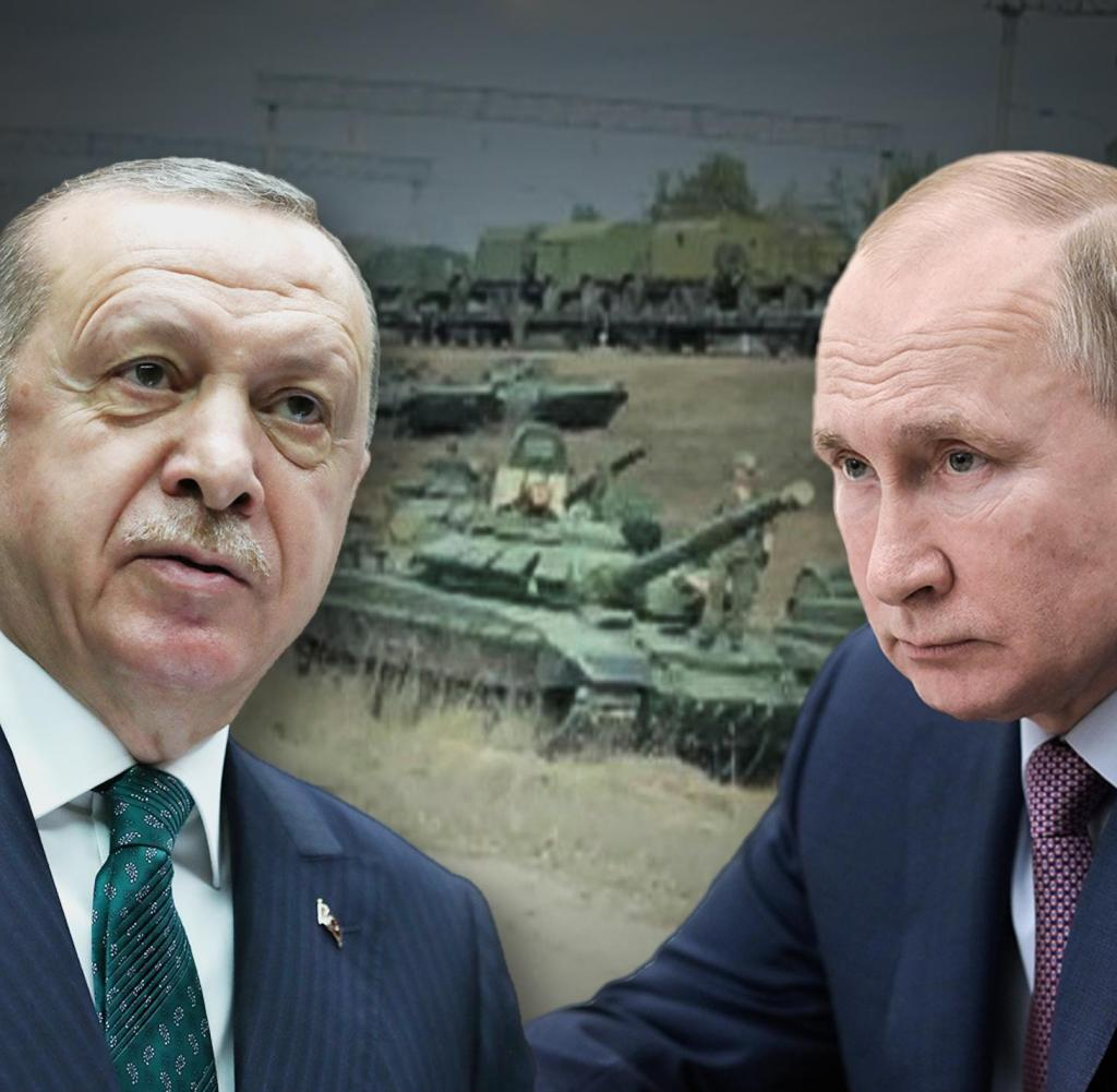 With his aid to Ukraine, Erdogan (left) is taking a stand against Putin