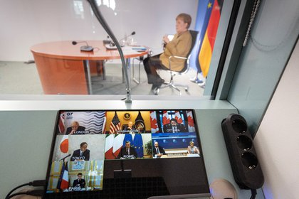 Photo of the virtual meeting of the Group of Seven in February 2021. Guido Bergman / BPA / via Reuters