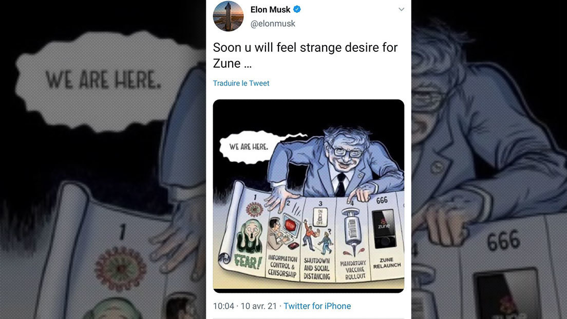 Elon Musk posts the cartoon in which Bill Gates controls brains with a vaccine and later deletes it